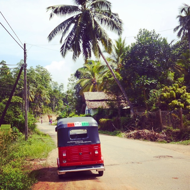 Image of Threewheeler driving through Mirissa Village Sri Lanka