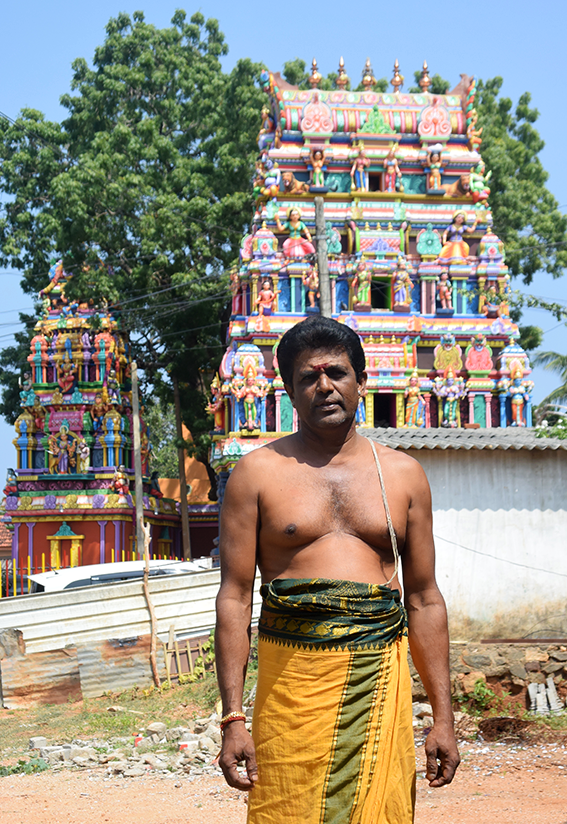 Priest Ravi at Sri Durgai Amman temple