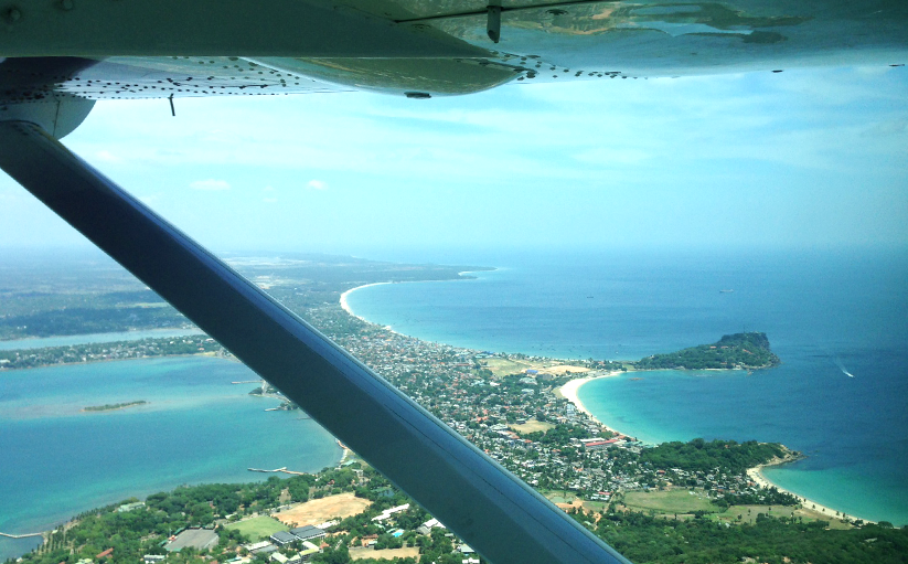 Stunning view from airplane over Trincomalee area - photo by Cinnamon Air.